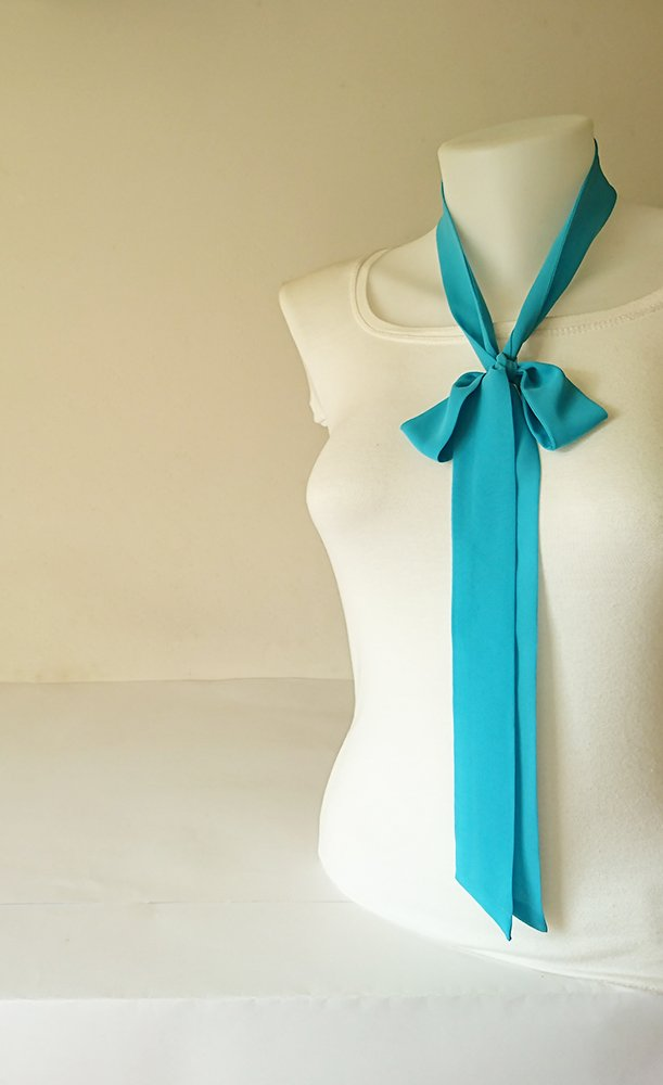 Turquoise Skinny Scarf, 63'x1.5', Long Thin Scarf with Angled Ends, Crepe Chiffon Bow Tie, Choker Scarf, Neck Tie, Narrow Scarf, For Her 63x1.5