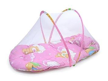 Matratze mit moskitonetz und kissen für babybett: amazon.de: baby
