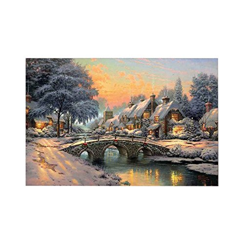 KICODE TOPmountain Colorful Village Landscape Oil Painting Canvas Wall Art Home Decor Ornanent Gift