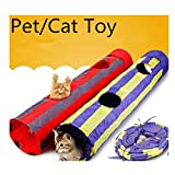 WODDL Pet Agility Play Hole Tunnel Tube Accessory Gift With Crinkle Sound Pompon - Pet Training Toy for Small Pets, Dogs, Cats, Rabbits,Kittens, Ferrets,127cm (Red)