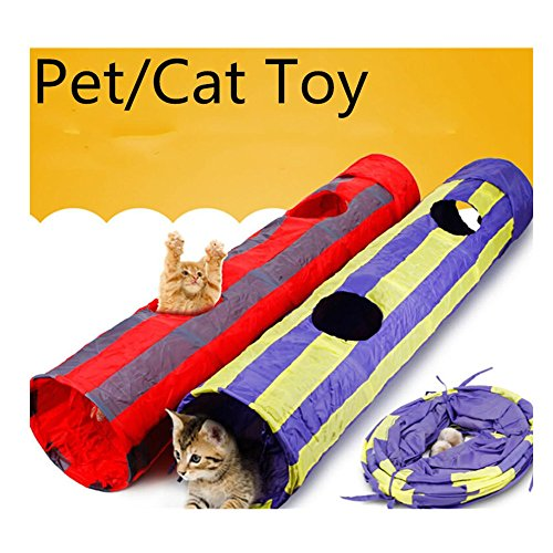 WODDL Pet Agility Play Hole Tunnel Tube Accessory Gift With Crinkle Sound Pompon - Pet Training Toy for Small Pets, Dogs, Cats, Rabbits,Kittens, Ferrets,127cm (Red) by WODDL