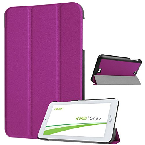Tri-fold Leather Stand Cover for Acer Iconia One 7 B1-770 - Purple - 1