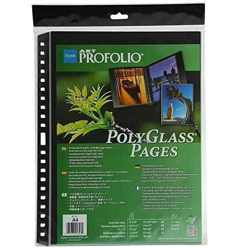 ProFolio by Itoya 10-Pack Multi-Ring Binder Refill Pages Art ProFolio PolyGlass A4 Size 8.3 x 11.7 Inches