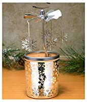 Spinning Snowflakes Candle Holder with Frosted Glass Scandinavian Design