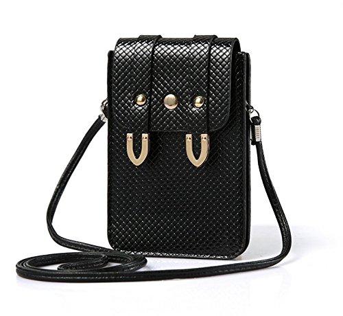 Premium Women Girl's Faux Leather Crossbody Bag Wallet Purse Cellphone Pouch w/ Shoulder Strap for LG G5 / LG V20 / LG G Stylo 2 Plus / BLU R1 / Studio 5.5 / HTC 10 (Black)