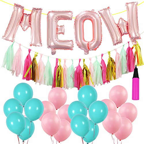 16 Inch Meow Cats Birthday Decorations Set, 20 PCS Multicolor Latex Balloons 20 Pcs Paper Tassels Banner Cat Birthday Decors with Air Pump