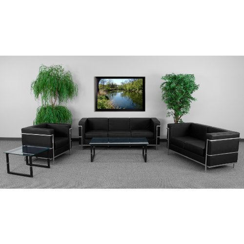 (Flash Furniture HERCULES Regal Series Reception Set in Black)