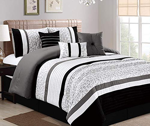 JBFF Oversize Luxury Stripe ((7 Piece) Bed in Bag Microfiber Comforter Set, California King, Black ()