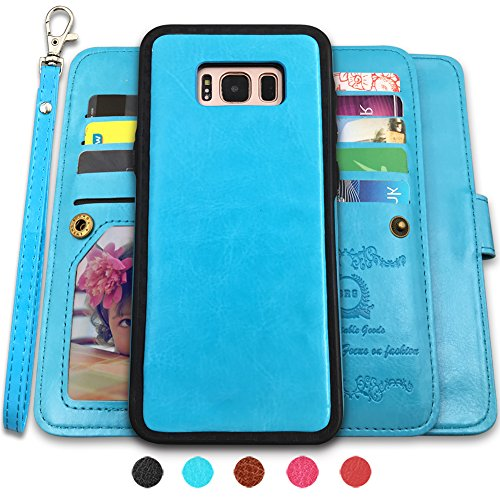 Galaxy S8 Plus Cases,Magnetic Detachable Lanyard Wallet Case with [8 Card Slots+1 Photo Window][Kickstand] for Galaxy S8 Plus-6.2 inch, CASEOWL 2 in 1 Premium Leather Removable TPU Case(Blue)