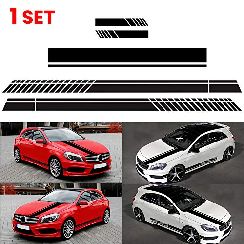 JUST N1 5Pcs Stripe Sticker Car Vinyl Decal Side Door Panel Hood Fender Roof Skirt Bumper Graphic Body Racing Rearview Mirror Auto Decoration Universal for Cars Truck SUV ()