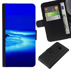 KLONGSHOP // Tirón de la caja Cartera de cuero con ranuras para tarjetas - Cascada bajo Azul - HTC One M7 //