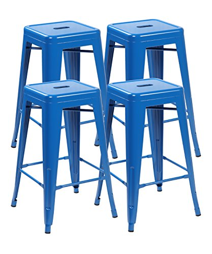 Save 63 united chair tolix style backless metal bar stools chair set of 4 bright deep blue - Tolix marais counter stool ...