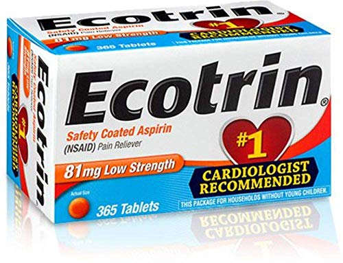 Extra Strength Coated Tablets - Ecotrin Safety Coated Aspirin Tablets, Low Strength, 81 mg, 365-Count Bottles (Pack of 2)