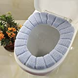 2pcs Bathroom Soft Thicker Warmer Stretchable Washable Cloth Toilet Seat Cover Pads, 2PCS (Blue)