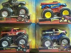 Hot Wheels Monster Jam Lot of 4 Popular Trucks: Superman, Black Chrome Monster Mutt, El Toro & Black Stallion Scale 1/64