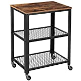 VASAGLE Industrial Serving Cart, 3-Tier Kitchen Utility Cart on Wheels with Storage for Living Room, Wood Look Accent Furniture with Metal Frame