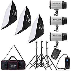 Neewer® 750W Photo Studio Strobe Flash Light Softbox Lighting Kit with Carrying Bag for Portrait,Product Photography and Video Shooting(250DI)