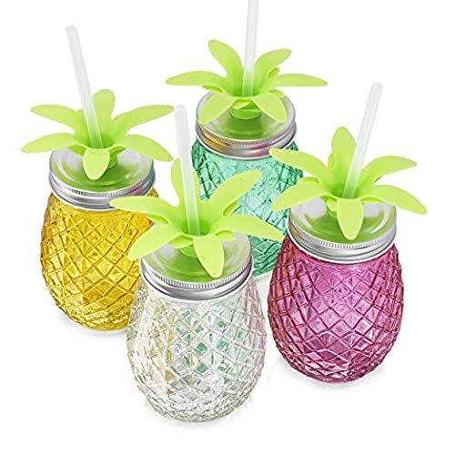 Set of 4 Assorted Colors Pineapple Shape Glass Sipper with Metal Lids & Plastic Straws (17.5 Oz) by HE (Image #1)