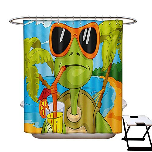 - BlountDecor Turtle Shower Curtains with Shower Hooks Cool Sea Turtle with Sunglasses Drinking Cocktail at The Beach Cartoon Fabric Bathroom Set with Hooks W54 x L78 Green Orange Pale Blue