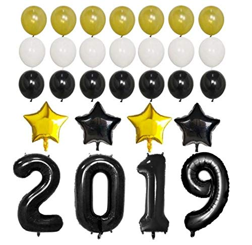 2019 Balloons for Graduation Prom - New Years Eve Party Decorations - Black & Gold Birthday Balloon Decor - by Jolly Jon ® -