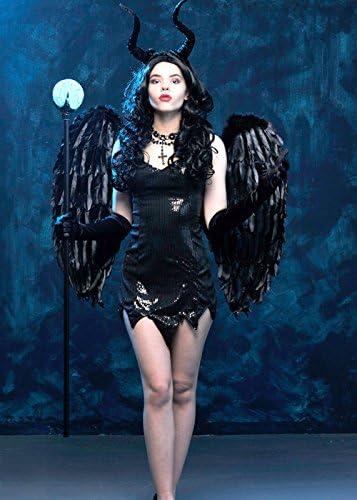 Delights Disfraz de Maléfica de Lentejuelas para Mujer con alas S ...