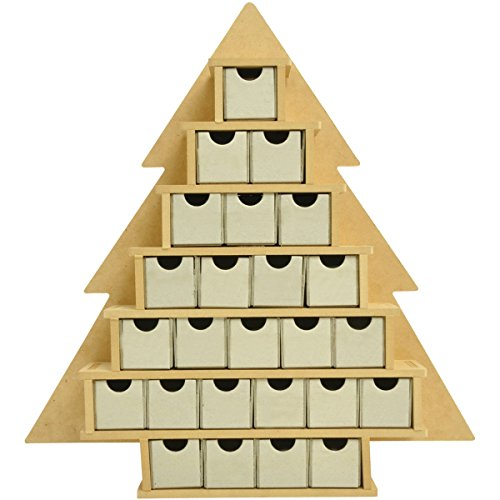Kaisercraft SB2205 Beyond The Page MDF 16 by 2 by 15.25-Inch Tree Advent Calendar with Drawers, Small by Kaisercraft (Image #1)