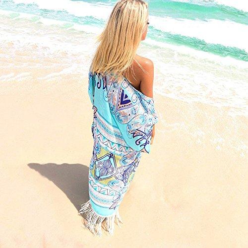 d01a1c9cd958d FORTULY Womens Cover up Bohemia Tassel Swimsuit Beachwear Bikini Dress (New  Blue)