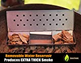 V Shaped Smoker Box Large - 25% THICKER STAINLESS STEEL & REMOVABLE WATER RESERVOIR - Wood Chips for Smoking Meat on Gas & Propane BBQ Grills - Fits Between Flavorizer Bars & Hinged Lid - Cave Tools