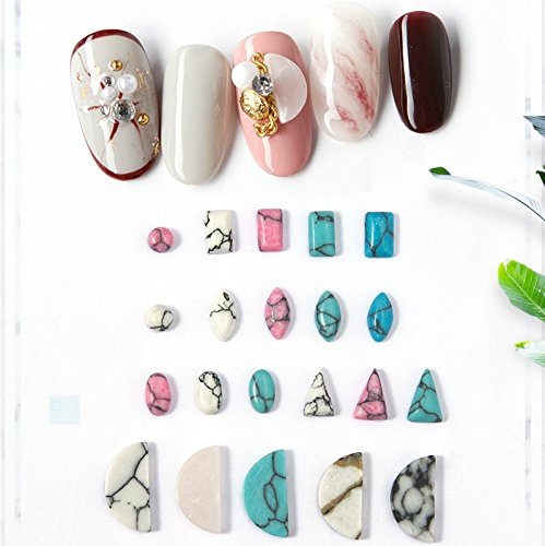 Cattie Girl 21pcs Red Turquoise Resin Marble Stone Nails Art