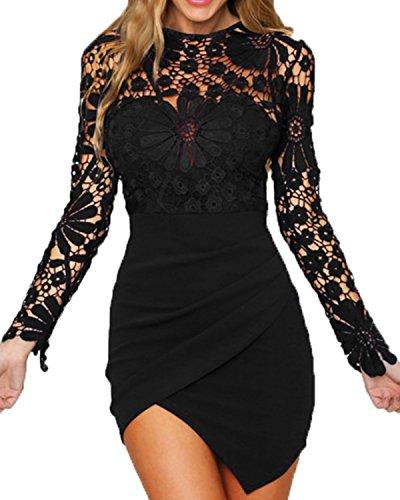 YOINS Women Dress Sexy Bodycon Crochet Lace Wrap Front Long Sleeves Mini Dress Black S ()