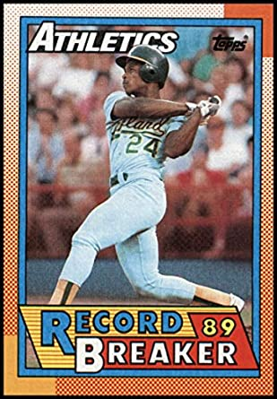 1990 Topps Baseball  7 Rickey Henderson Oakland Athletics RB Official MLB  Trading Card (stock c27e02d10