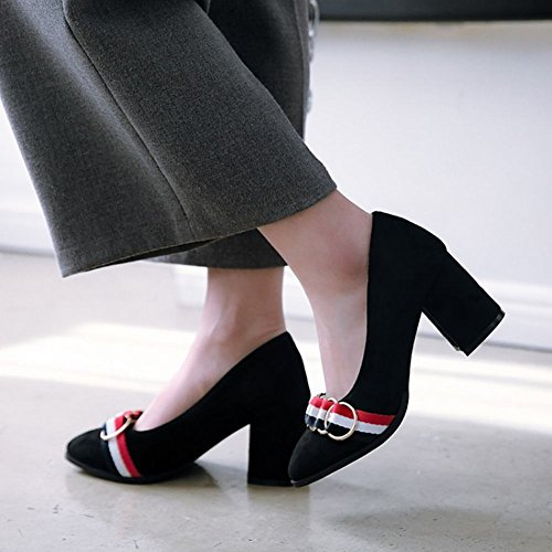 Toe Pointed Shoes Decoration Court Chic Fashion Black Carolbar Heel Mid Women's nYB0qpwOP