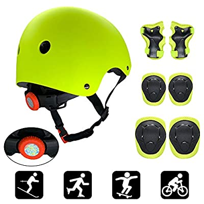 Lixada Kids 7 in 1 Helmet and Pads Set Adjustable Kids Knee Pads Elbow Pads Wrist Guards for Scooter Skateboard Roller Skating Cycling : Sports & Outdoors