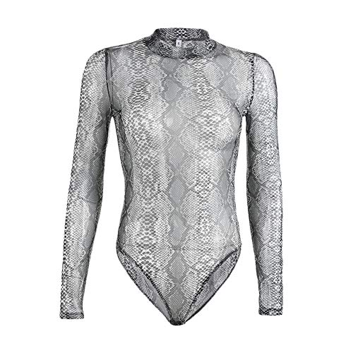 Print Snakeskin Top (lisenraIn Women Bodysuits Long Sleeve Tops Snakeskin Print Sheer Mesh See Through Leotard Jumpsuit (Snakeskin, L))