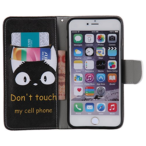 """iPhone 6 / iPhone 6S (4.7"""") Coque , Apple iPhone 6 / iPhone 6S (4.7-inch) Coque Lifetrut® [ Don't Touch My Phone ] Luxe Premium Portefeuille Flip mignon Coque TPU souple Folio en cuir PU intégré dans"""