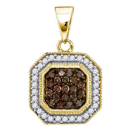 Jewel Tie Solid 10k Yellow Gold Round Chocolate Brown Diamond Octagon Cluster Pendant (1/3 Cttw.) - Octagon Diamond Pendant
