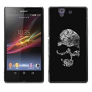 LECELL--Funda protectora / Cubierta / Piel For Sony Xperia Z L36H C6602 C6603 C6606 C6616 -- Skull Dark Black Death Shadow Bones --