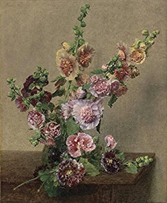 Hollyhocks By Henri Fantin-Latour. 100% Hand Painted. Oil On Canvas. Reproduction. (Unframed and Unstretched).