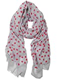 S-729-21 Funky Junque's Embossed Lips & Kisses Scarf - Grey