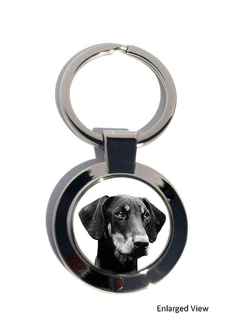 Perro dóberman redondo Llavero Cromado, regalo: Amazon.es ...