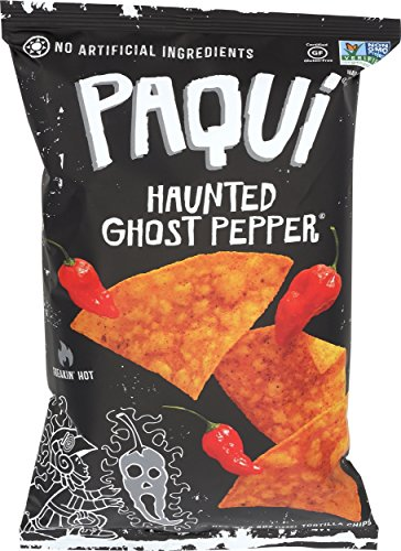Paqui Tortilla Chips, Gluten Free Snacks, Haunted Ghost Pepper, 5.5oz (Single bag)]()