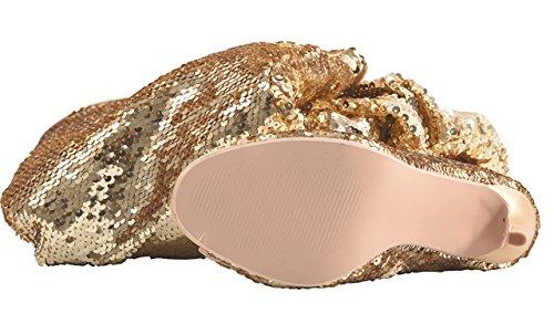 Camssoo Femmes Mode Peep Toe Sparkle Paillettes Cuisse Haut Au-dessus Du Genou Pupilles Talon Fête De Noël Chaussures De Danse Or