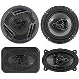 (2) Rockville RV6.3A 6.5 750w 3-Way Car Speakers+(2) 4x6 500w 3-Way Speakers