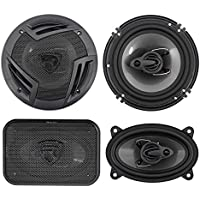 (2) Rockville RV6.3A 6.5 750w 3-Way Car Speakers+(2) 4x6 500w 3-Way Speakers