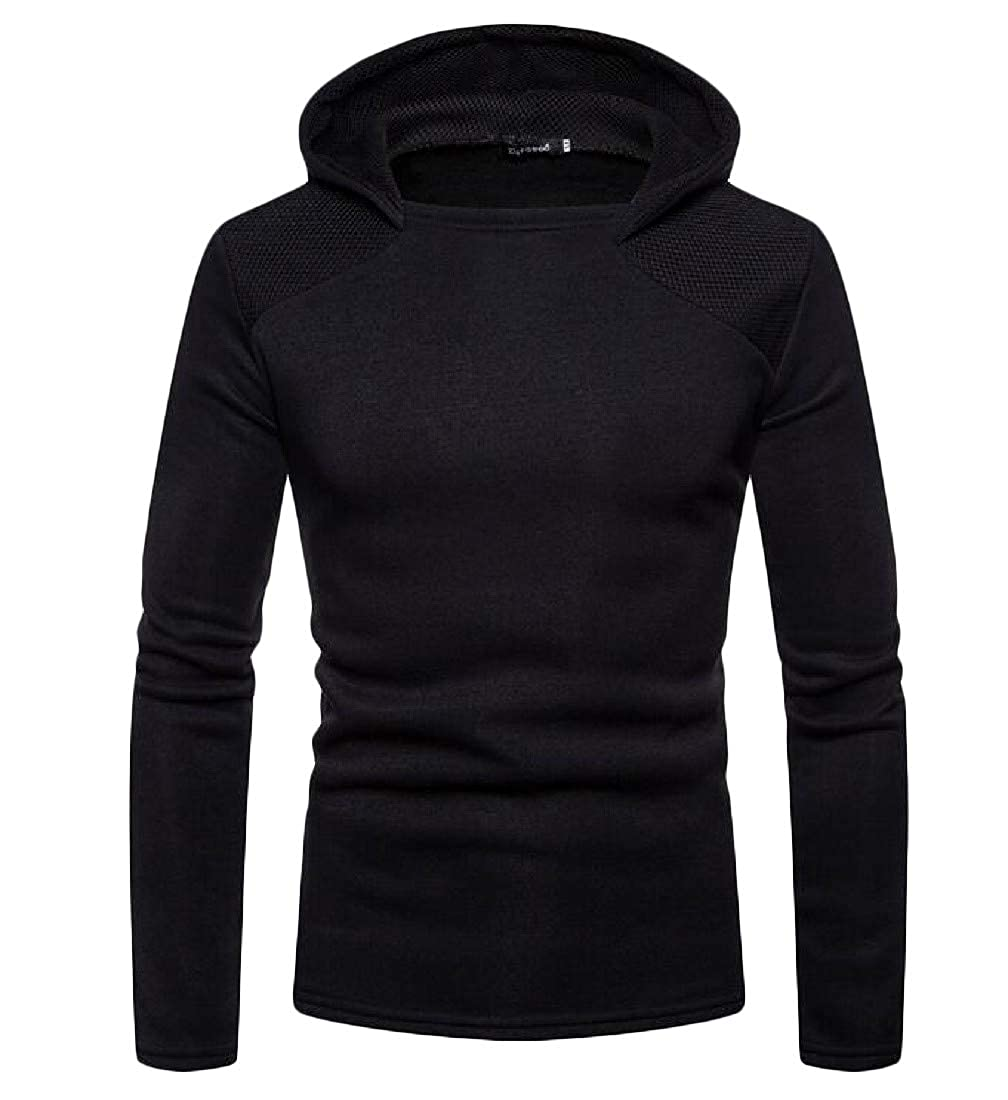 Lutratocro Mens Casual Hoodies Patch Pullover Long Sleeve Net All-Match Sweatshirts