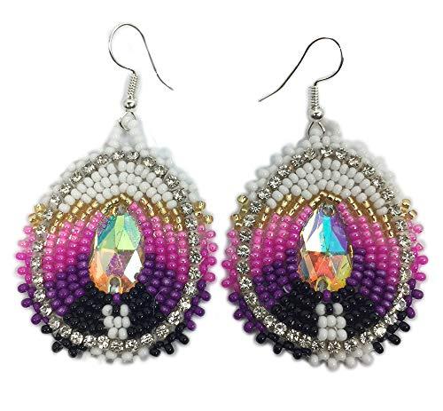 Handmade Seed Beaded Teardrop Hook Earrings (Purple Pink)