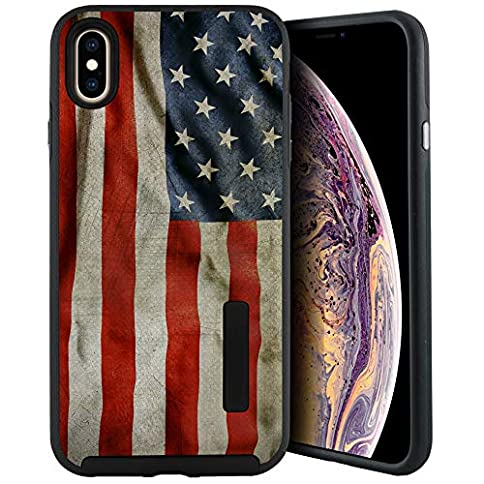- 51Ai1f3vgnL - CasesOnDeck Case Compatible with [Apple iPhone XR | iPhone 10R 6.1″][Grip Tactical] iPhone XR Dual Layer Rubberized Shock Shell Inner TPU Soft Interior (American Flag)