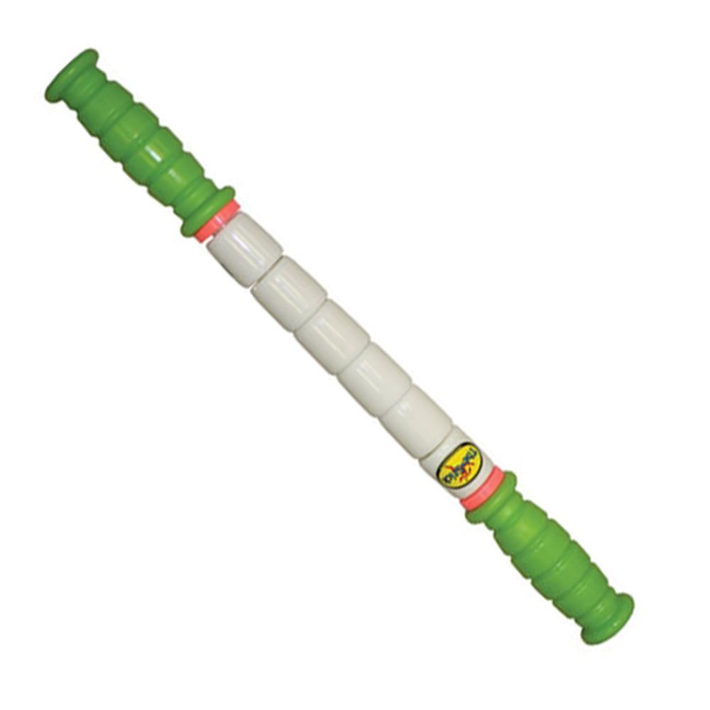 The Stick Little Stick - 14 Inches - Standard Flexibility With Green Handles - Therapeutic Body Massage Stick - Potentially Improves Flexibility - Aids Muscle Recovery And Muscle Pain - Provides Myofascial Release