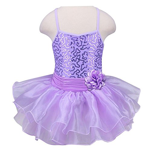 [TFJH Kids Little Girls' Ballet Flower Sequin Sleeveless Leotard Tutu Purple 3-4 Years] (Figure Skating Halloween Costumes)