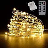 YOMM Flexible Fairy String Lights Battery Operated Waterproof with Remote Control 8 Modes 100 LED String Lights 10M/32.8FT Copper Wire Firefly Lights (Yellow)